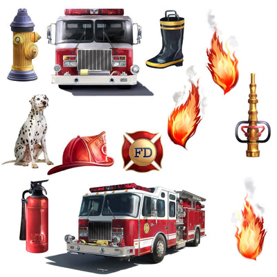 HOT SELLING Fire Brigade Peel & Stick Wall Decal Set
