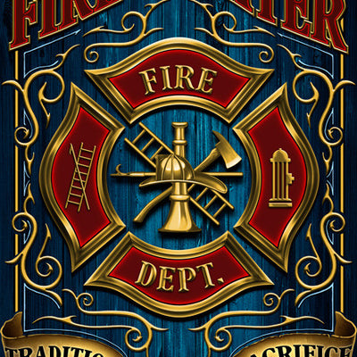 "Firefighter Creed ""Tradition, Dedication, And Sacrifice"" Hero Bath Towel"