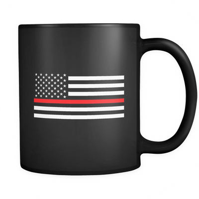 THIN RED LINE AMERICAN FLAG MUG - BLACK