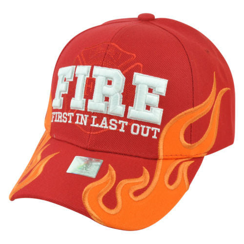 Red Version Fire Rescue Fireman Firefighter Hat / Sports Style Ball Cap / Black