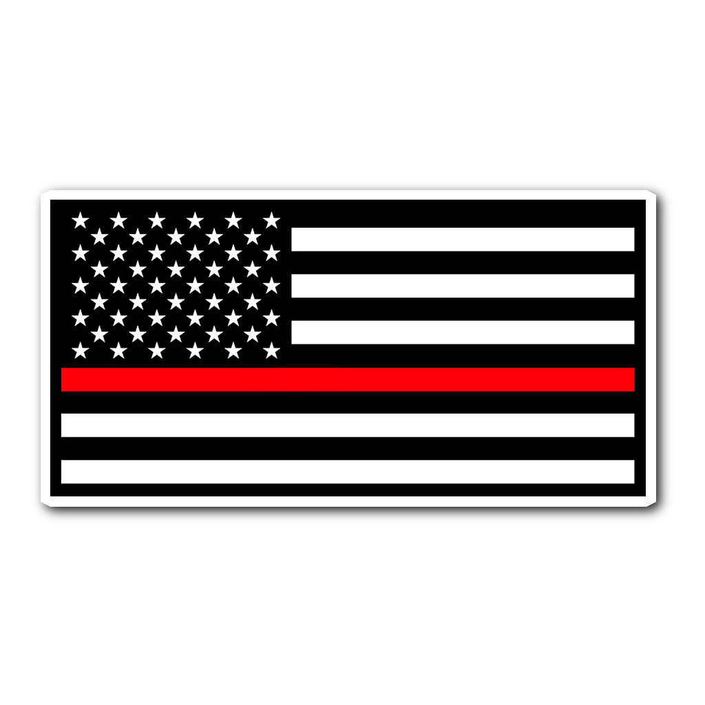 American flag firefighter. Thin red line sticker