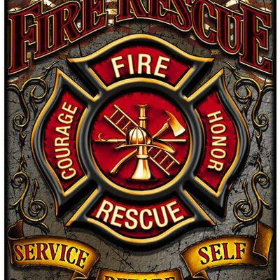 Amazing Firefighter Double Flagged Brotherhood Aluminum Metal Parking Sign 8""