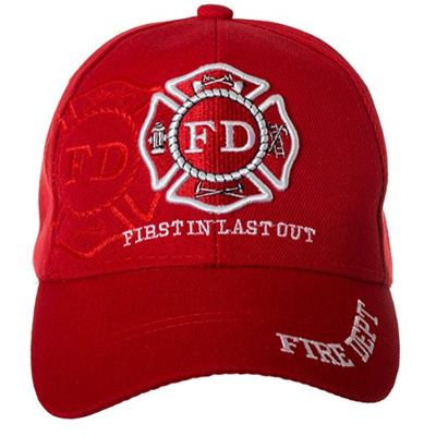 FD FIRE DEPT FIRST IN LAST OUT SHADOW N1 CAP HAT RED