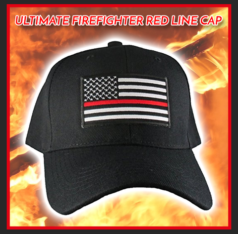 THIN RED LINE FLAG LOW PROFILE CAP, FIREFIGHTERS, FIRST RESPONDERS, BLACK