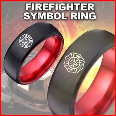 amazon ring thin black and elegant firefighter red engagement line rings set wedding views