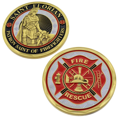 St Florian Firefighter 3D Challenge Coin Patron Saint Fire Rescue Maltese Cross
