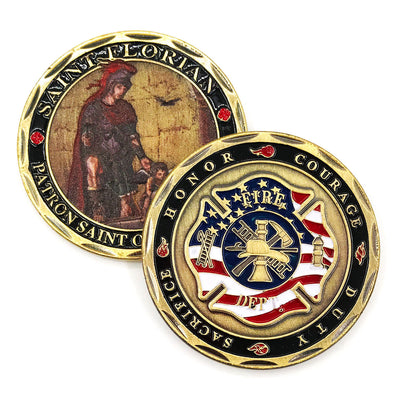 Saint Florian Patron Saint of Firefighters Challenge Coin