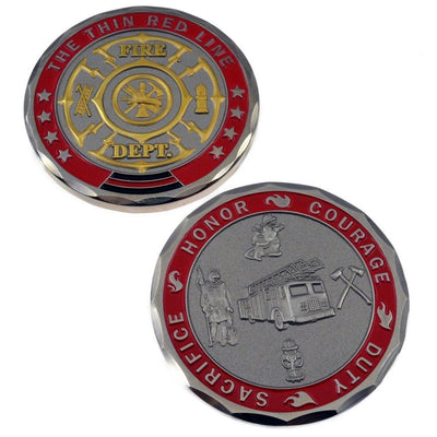 Fire Department Challenge Coin St Florian Maltese Cross Firefighter Tools 3D
