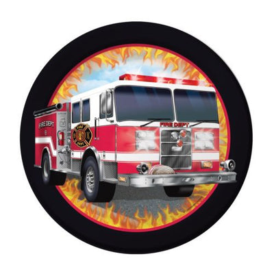 "8 Fire Watch Fire Truck Birthday Party Small 7"" Disposable Paper Plates"