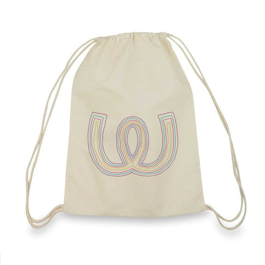 Lines Colored<BR>Gym Bag Beige