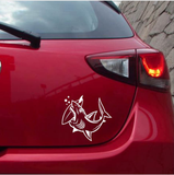 Shark Car Stickers bites Surfboard