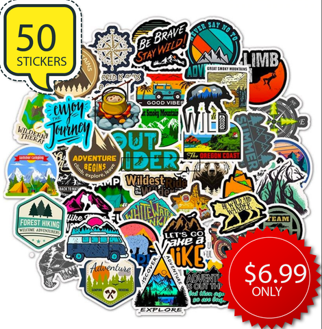 50 Stickers Outdoors Hiking Camping Travel Adventure
