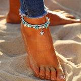 Anklet starfish wave and turtel for women