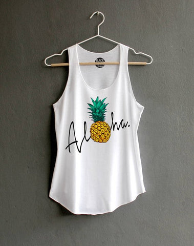 Aloha pineapple, AVOCADO, ANCHOR,  Tank top Pineapple Shirt Shirt Funny Shirts Hipster T-shirt White Tank Top Womens