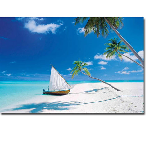 Tropical Beach Sea Waves Poster Print  Wall Picture Home Room Decor