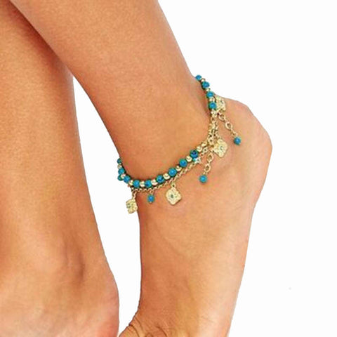 Women Bohemian Beach Turquoise Barefoot Sandal Foot Jewelry Anklet Chain