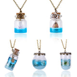 Blue Sea Ocean Glass Wish Bottle Necklaces