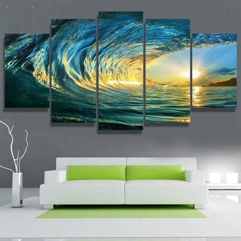 5 Panels Hd Printed Sea Of Wave Surfing Wall Art Painting