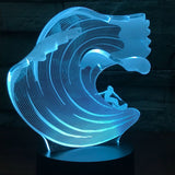 3D Surfing Waves Illusion Night LED Light