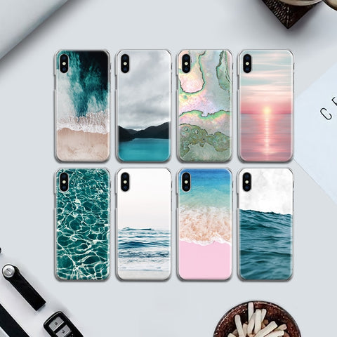 Beach Sea Wave Water Back Cover for Iphone 4 4S 5 5S SE 6 6S 7 8 Plus X Hard PC Case Fundas Coque Bumper