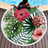 Flower Flamingo Beach Towel