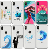 Surfboard and Surfing sunse Case For iPhone8 8Plus 7 7Plus 6DPlus  XS Max  5s Surfer girl Case