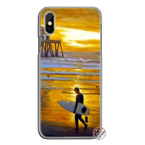 surfboard art surf Girl Hard Phone Case for Apple iPhone XS Max XR X 8 7 6 6S Plus 5 5S SE 5C 4S 10 Cover Cases