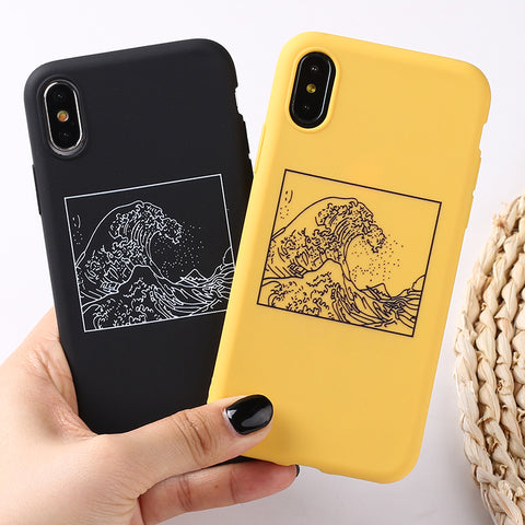 The Great Wave off Kanagawa Back Cover Phone Case  For iPhone 7Plus 7 6Plus 6 6S 5S 8 8Plus X XS Max