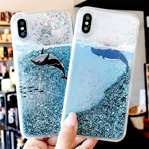 Sea whale  Liquid   Quicksand Soft Case for Samsung Galaxy A6 A8 A7 2018 A750 S9 S8 Plus S7 Edge A3 A5 A7 2017 J3 J5 J7 2016 Note 8 9