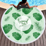 Tropical  Round Beach Towel  Yoga Blanket Beach Cover Up