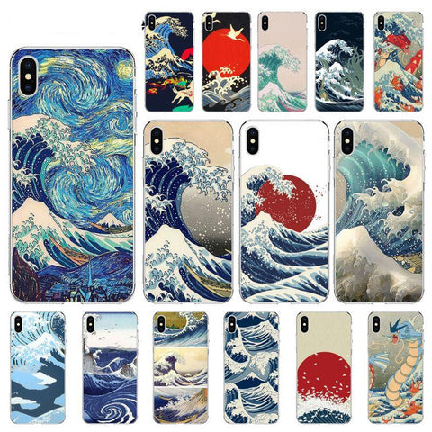Kanagawa Wave Phone Case cover Shell for iPhone X XS MAX 6 6S 7 7plus 8 8Plus 5 5S XR