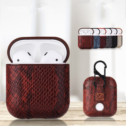 Snake Skin Bag Case For Apple AirPods 1 2 Bluetooth Wireless