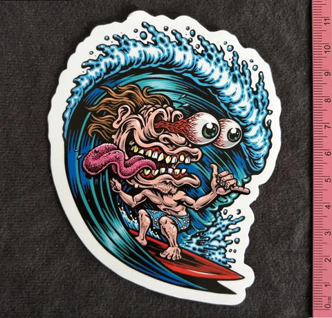 Crazy Surfer Dude Sticker  Buy 3 Free 1