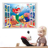 3d smiling big shark  windows wall stickers