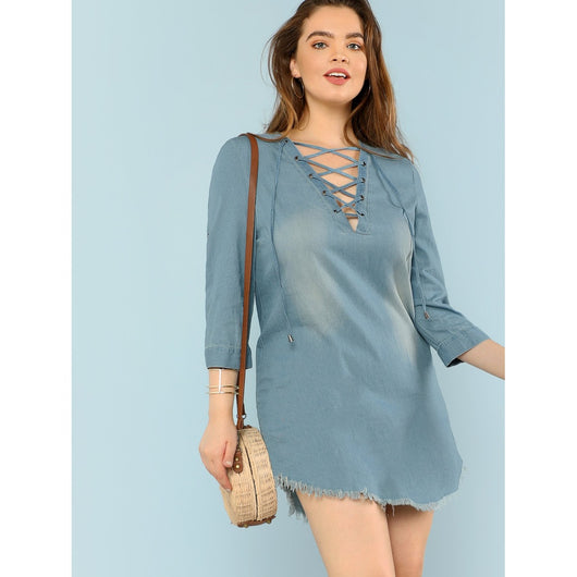 Lace Up Raw Hem Tunic Dress