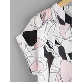 Abstract Print Curved Hem Cuffed Blouse