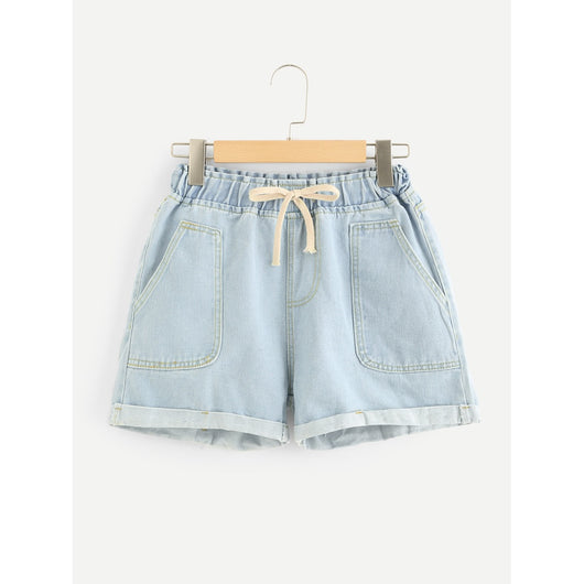 Dual Pocket Drawstring Waist Denim Shorts
