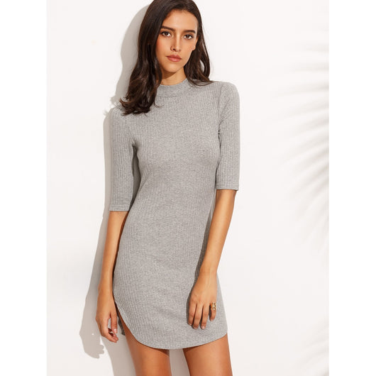 Dolphin Hem Elbow Sleeve Ribbed Dress