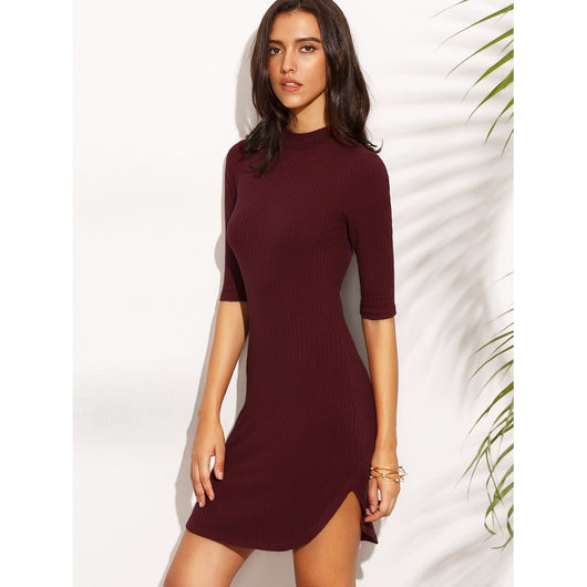 Dolphin Hem Fitted Ribbed Dress