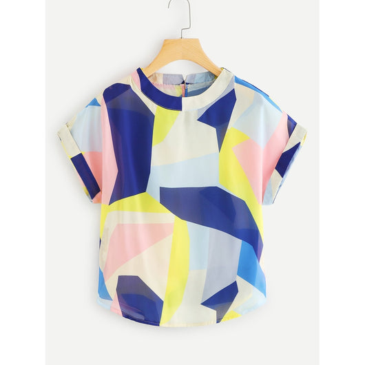 Patchwork Dolman Sleeve Cuffed Blouse