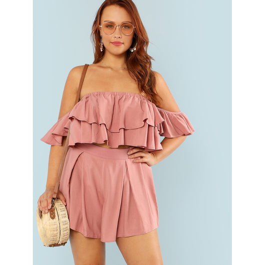 Layered Flounce Bardot Crop Top & Shorts Set