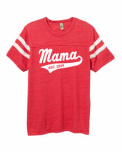 Mama Crew Neck Football Tee with Personalized Year