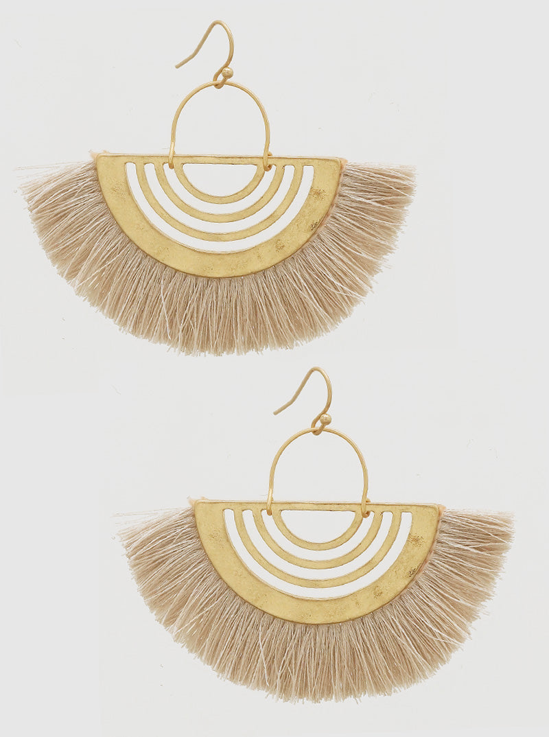 Fan Tassel Earrings - Blush beige