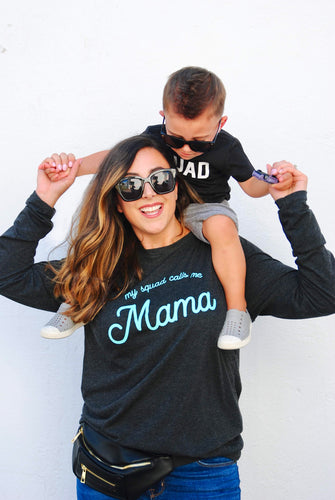 My Squad Calls Me Mama Long Sleeve Tee - Grey with Mint