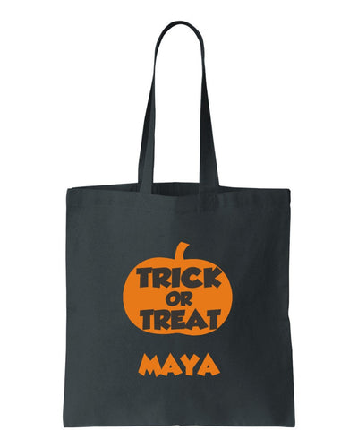 Personalized Halloween Trick or Treat Canvas Bag