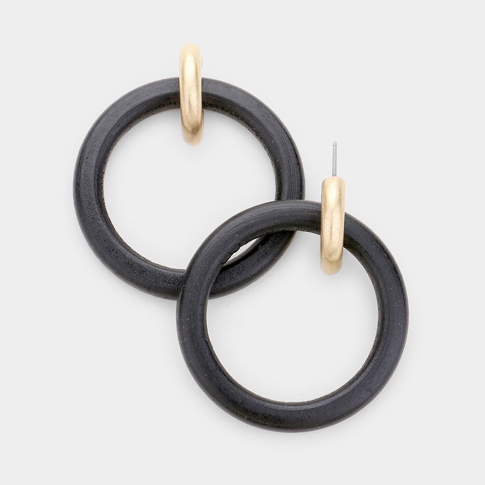 Madison Double Hoop - Black Wood