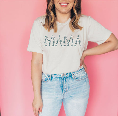 Mama Floral Tee - Heather Cement with Sage Ink