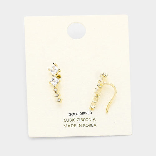 Gold Square Ear Climber Earrings