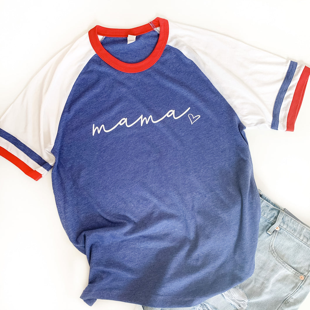 Mama Red White and Blue Vintage Jersey Tee