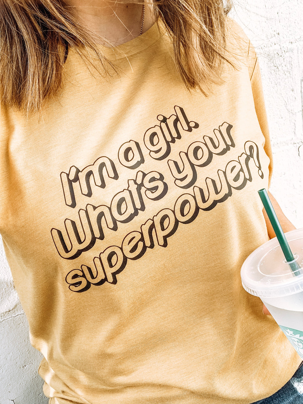 I'm a Girl What's Your Superpower Adult Mustard Yellow Triblend